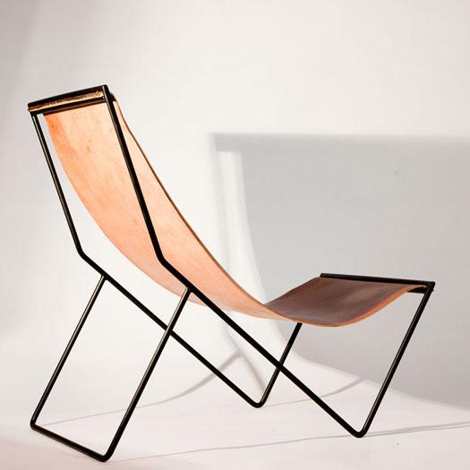 Poltrona in pelle Sling Chair  design Kyle Garner