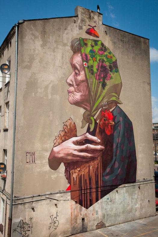Etam Cru street art - Madamme Chicken  Lodz, Poland, 2013