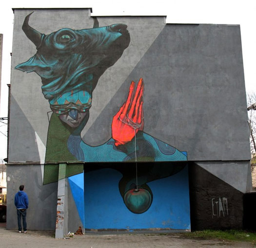 Etam Cru street art - Praying sinner  Katowice street art festival, Poland, 2010