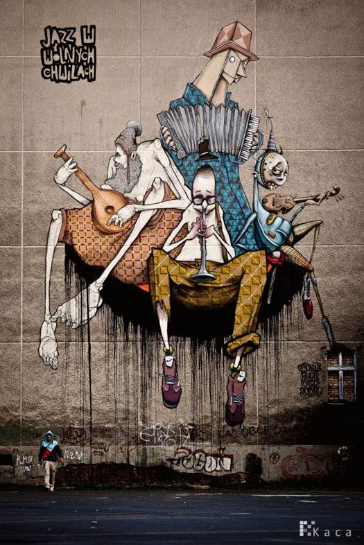 Etam Cru street art - Jazz in free times  + Chazme, Sepe, Lump  Szczecin, Poland, 2010