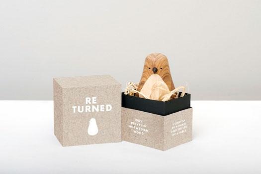 Design ecosostenibile Re-Turned uccellini di legno