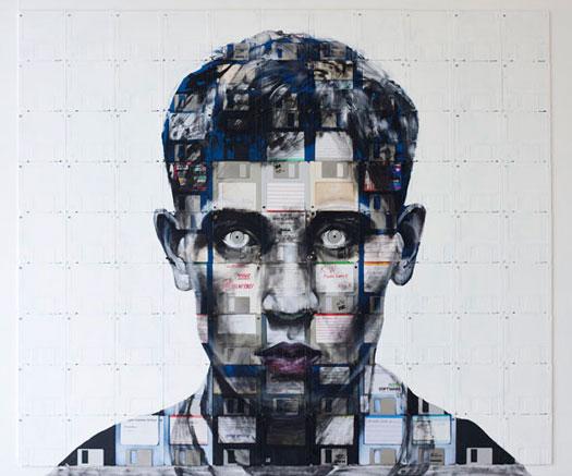 Dipinti su floppy disk di Nick Gentry