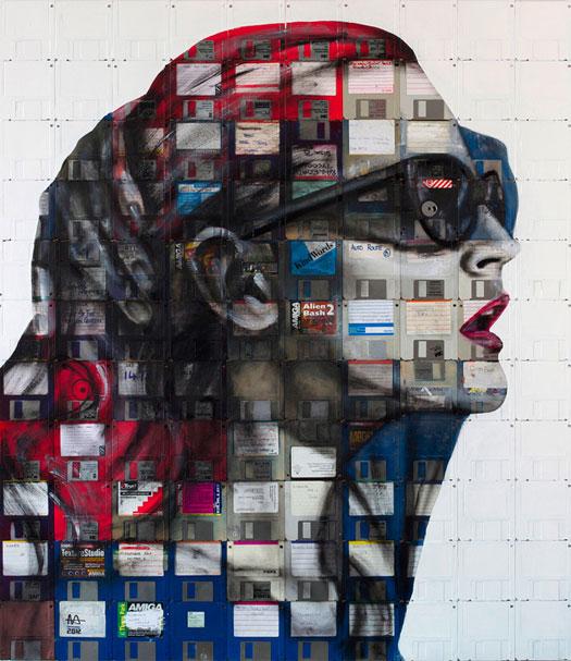 Ritratti su floppy disk di Nick Gentry